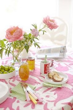 Love the Otomi coverlet/tablecloth in hot pink! Looks like a fun place for tea!