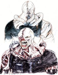 Nemesis, drawn by storyboard artist Rob McCallum Art for the movie RESIDENT E. Resident Evil Monsters, Resident Evil Nemesis, Resident Evil Video Game, Zombies, Shadow Creatures, Resident Evil Collection, Evil Art, Gorillaz, Video X