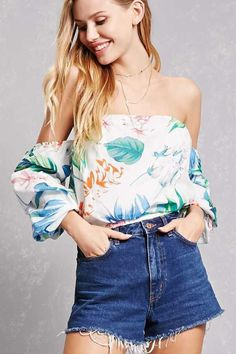 98378f48f7e Forever 21 Tropical Floral Crop Top Off Shoulder Outfits