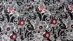 schwarzer Stoff weiss/roten ♥ Edelblumen♥  Designerstoff    Wunderschöner Stoff für deine kreative Zeit ob Taschen, Kleidung oder oder    *wenn mehr M