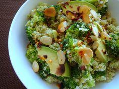 Quinoa with Broccoli Pesto: Broccoli, almonds, parmesan cheese, olive oil, cream, garlic, quinoa and fire oil.