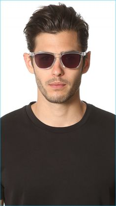 """Oakley Frogskins Crystal Sunglasses: """"Classic Oakley sunglasses with a keyhole bridge, clear frames, and mirrored lenses. Soft cloth pouch included."""""""