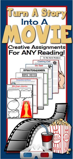 Have your students turn their reading of any short story or a novel into a movie! Included in this resource are 8 different assignments that can be used individually, or as a major final project. (Middle / High School)