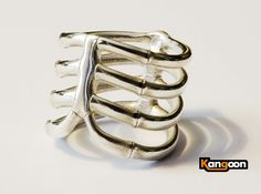 Thorsten 4 Rip - Ring 3d printed Polished Silver printed