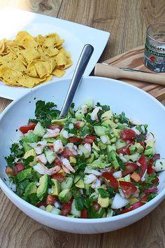 Salsa d'avocats et crevettes Ceviche, Salsa, Tortilla, Cobb Salad, Crudites, Ethnic Recipes, London Calling, Food, London
