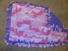 Pink Camo fleece tie blanket
