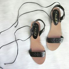 Leather Slingback Lace Up Sandals Excellent condition!! No notable flaws. Leather upper. Fun versatile summer shoe. Well made.   Bundle for best deals! Hundreds of items available for discounted bundles! You can get lots of items for a low price and one shipping fee!  Follow on IG: @the.junk.drawer Shoes Sandals