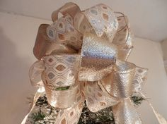 Christmas tree topper bow Ivory ribbon with by creativelycarole