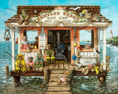 Bentley Bears Bait Shop, a nautical painting of a bait shop out on the water with a lighthouse in the distance, filled with teddy bears fishing and sitting, one of the Janet Kruskamp Teddy Bear Gallery of  personally enhanced giclees  signed by Janet Kruskamp