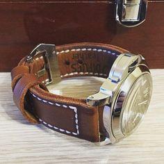 Handmade Leather Watch Strap & Panerai Luminor