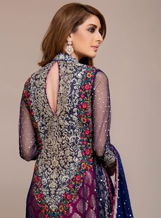 170f3e89d29 Zainab Chottani Formal Heavy Collection 2019 ROYAL BLUE AND CHERRY PINK  DRESS SKU  130235 Pakistani