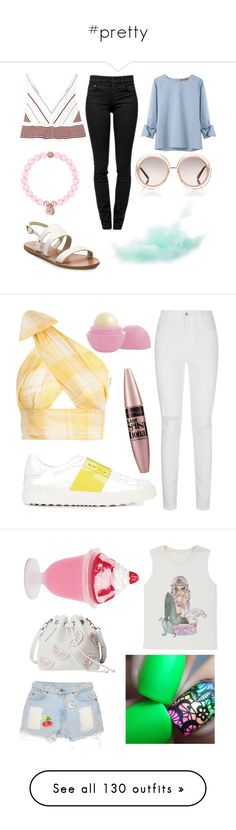 """#pretty"" by idontevenknow4765 ❤ liked on Polyvore featuring United Bamboo, Elizabeth and James, Proenza Schouler, Ancient Greek Sandals, Chloé, J Brand, Valentino, Maybelline, Eos and Valfré"