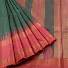 Sailesh Singhania Handwoven Gadwal Kuttu Tussar Linen Silk Saree with Temple Border 10005607 - profile - AVISHYA.COM