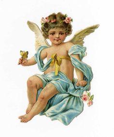 Pretty ANGEL - CHERUB - CUPID Victorian Die Cut - 1880's - Holding Butterfly