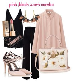 """""""Pastel pink and Black work combo"""" by ddsavoie on Polyvore featuring MaxMara, Uniqlo, Dolce&Gabbana, Fratelli Karida, STELLA McCARTNEY, Marni, Neiman Marcus and Yves Saint Laurent"""