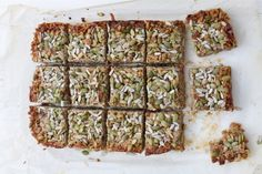 These delicious sugar-free granola bars make the perfect snack. They're packed full of protein and good fats to keep you satiated in between meals. Via Sarah Wilson I Quit Sugar Sugar Free Cereal, Sugar Free Granola, Healthy Bars, Healthy Treats, Healthy Food, Healthy Eating, Healthy Sugar, Healthy Recipes, Vegan Treats