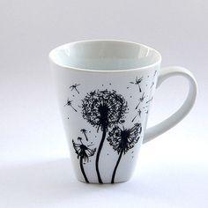 Custom flowers mug coffee cup tea mug handmade floral design gift man woman