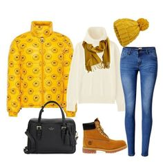 """""""Jacket Yellow"""" by daniellecarso on Polyvore featuring Uniqlo, WithChic, Kate Spade, Miss Selfridge, Timberland and Hermès"""