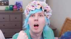 ((by popular demand: here is the link to the 2018 blue hair phil petition enjoy)) Phil uploaded PASTEL EDITS IRL and wore a pastel blue wig. He hinted at it being his 2018 hair and Dan said he'd sign a petition for that. So here it is!   You better sign this, Daniel.   Lena -twitter @sadboyhoweli