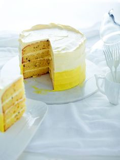Passion fruit layer cake with cream cheese frosting