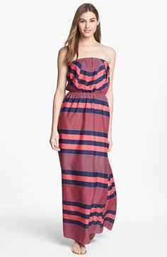 Variegated Stripe Maxi Dress in Navy/Berry
