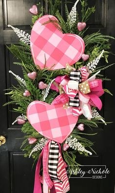Double Pink Heart Swag Wreath