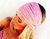 Wide Headband Peach Mesh Striped Stretchy Headband Hair Covering Head Band