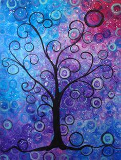 "acrylic on canvas ""Galaxy Tree"" lisaoneil.com"