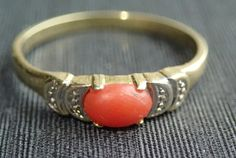 Goldring 585 Damenring Stempel 14 Karat rote Koralle Ebay, Shopping, Accessories, Gold Rings, Ancient Jewelry, Stamps, Red