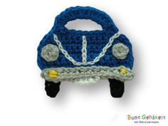 Auto Mini blau von Bunt gehäkelt von Petra auf DaWanda.com