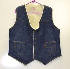 Vintage Levi's Mens XL Denim Vest Sherpa Fleece Lined Jean Jacket Snap USA #Levis