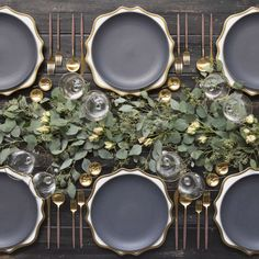 RENT: Anna Weatherley Chargers in White/Gold Heath Ceramics in Indigo/Slate Goa Flatware in Brushed Gold/Wood Chloe Gold Rimmed Stemware Gold Salt Cellars Tiny Gold Spoons Vase Deco, Wedding Reception Tables, Wedding Decor, Decoration Table, Thanksgiving Table, Tablescapes, Holiday Tablescape, Dinner Table, Lunch Table