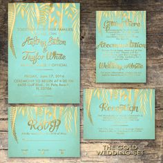 Mint and gold wedding invitation Printable by StudioInBudapest