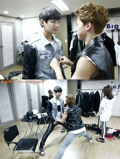 Jimin & V ♥ #BTS why does jimin have to do the fixing of V's outfit if the PA can do it???
