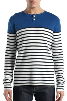 Vince Long Sleeve Henley in White and Blue