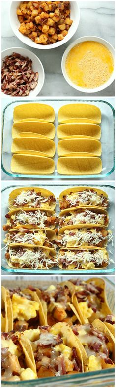 Oven-baked soft tacos of breakfast goodness topped with melty cheese!