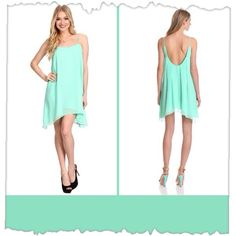 """Breezy Mint Green Swing Dress Stunning camisole trapeze dress in a delicious shade of mint green.  This little frock is feminine and sexy.  Scoop neck with adjustable straps.  The back is the bonus with a deep, low-cut back with soft pleats that continue to the skirt.  100% polyester. Size M, measures: neckline to hem 26"""". Chest measures 38"""".  Worn once, in """"like new"""" condition. No defects. BCBGeneration Dresses"""