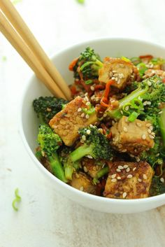 Sticky Sesame Tofu and Broccoli