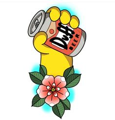 Duff - Tattoo Design, The Simpsons Simpsons Tattoo, Simpsons Drawings, Simpsons Art, Cartoon Character Tattoos, Cartoon Tattoos, Anime Tattoos, Cartoon Painting, Cartoon Art, Origami Tattoo