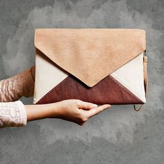 Gorgeous bag, and such a great price!  Clutch bag Letter Medium Tricolor by cocoonobags on Etsy, zł95.00