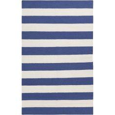 Handwoven RoyalStripe Blue Corn Wool Rug (5' x 8')   Overstock.com Shopping - Great Deals on 5x8 - 6x9 Rugs