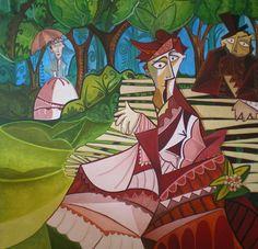Camille Monet on a Garden Bench. Óleo sobre lienzo. Tamaño 120x120 cms. Año 2014