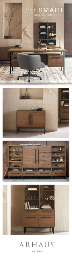Executive furniture for your Home Office. Arhaus' Sullivan Office collection f…, – Executive Home Office Design Office Furniture Design, Home Office Design, Home Office Decor, Cool Furniture, Woodworking Desk Plans, Sketchup Woodworking, Small House Decorating, Rustic Contemporary, House Rooms