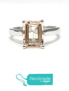 Emerald Cut Morganite Engagement Ring 14K White Gold 7x9mm Solitaire from the Lord of Gem Rings https://www.amazon.com/dp/B01GXGDRDQ/ref=hnd_sw_r_pi_dp_r7dHxb7XBP6FX #handmadeatamazon