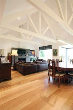 New Home Office Loft Exposed Beams Ideas – Rustic House Exposed Trusses, Roof Trusses, Living Area, Living Spaces, Roof Truss Design, White Beams, Open Ceiling, Great Rooms, Interior Design Living Room