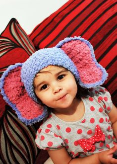 SUMMER SALE* Baby elephant hat crocheted in fluffy lagoon blue and plum. Handmade with love by Babamoon - size 6 to 12m - Shop Now! Use code BABACIJ20 to save 20% (Sale Ends July 11)