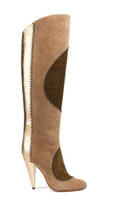 Santoni | Patchwork knee high #boot in suede. #Santoni #Santonishoes #FW1516