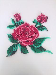 Rose - perler - flower - blomster - beads - hama