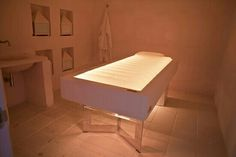 Senso, the water massage bed at the Timobianco SPA of Masseria Muzza, Alimini, Otranto, Puglia, Italy