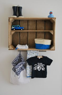 If you need more room at the changing table hang this above. Baby Bedroom, Baby Boy Rooms, Baby Boy Nurseries, Nursery Room, Kids Bedroom, Cool Baby, Old Wooden Boxes, Deco Kids, Kids Decor